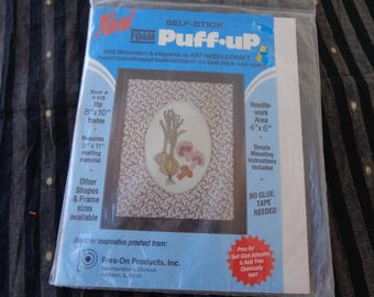 Foam Puff Up self stick press on product  Requires frame. matting material of 9x11inches.  Needlework area 4 x 6 inches