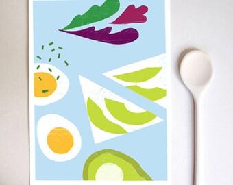 "Blue Breakfast art print  11""x15"" - archival fine art giclée print"