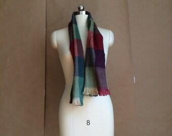 CYBER SALE / vintage 1970's super soft fall winter scarf / multi colored checkerboard pattern