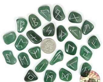 Small Green Aventurine Rune Set Hand Carved Elder Futhark With Manual & Pouch