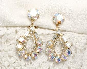 Vintage Gold Aurora Borealis Crystal Rhinestone Dangle Earrings, Bridal Statement, 1950s Old Hollywood Glam Wedding Jewelry, Unsigned Kramer