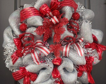 Red and Silver Christmas Wreath, Christmas Door Wreaths, Deluxe Deco Mesh Wreath, Wreaths For Christmas