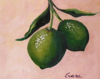 """LIME  6"""" x 6"""" Acrylic painting of lime fruits.  One of three citrus paintings.  Original"""