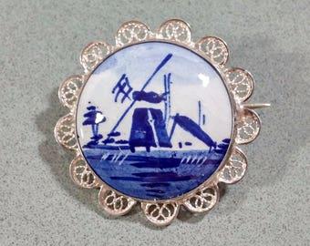 Antique Delft Brooch Sterling Silver Blue & White Dutch Windmill Scene Holland Delfts Blauw Netherlands Nederlands C-Clasp Scalloped Edges
