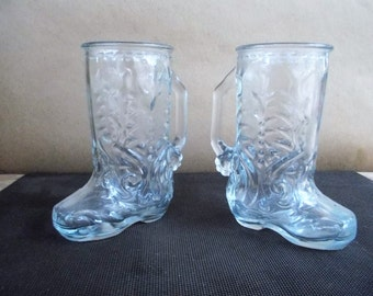Pair of Vintage Glass Cowboy Cowgirl Boot Mugs
