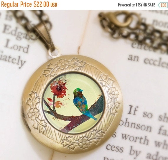 Christmas Sale Bird on a Branch Locket Necklace - Bronze Locket - Wearable Art with Bronze Chain
