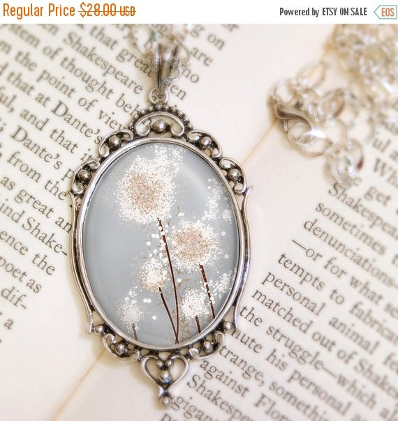 Mothers Day Sale Dandelion Wedding Necklace (silver) - Silver Pendant - Perennial Moment (silver) - Wearable Art with Silver Chain