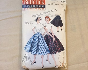 Vintage 50's Sewing Pattern, Circle Skirt, Butterick 7257 Vintage Size XS Extra SMALL Waist 24