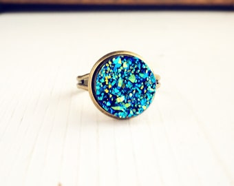Faux Druzy Ring / Adjustable Blue Iridescence Adjustable Boho Bohemian Gypsy Bridesmaids Bridal Party Gift Favors  on a Budget Bronze Brass