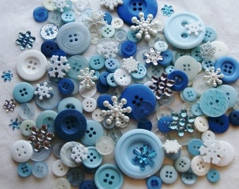 150 Blue Buttons, Winter Mix,  Embellishments and Sewing Buttons, Art Buttons , Crafting Jewelry (Ao 23)