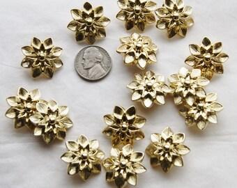 15 Gold Buttons, Flower Shank Back Buttons, Gold Shank Buttons, Sewing, Craft (AK 75)