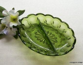 Vintage Anchor Hocking 'Fairfield Green' Relish Dish, Green Two Part RelishTray, Rustic Kitchen Decor, Avocado Green Glass Bowl