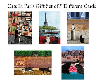 Cat Lover Gift Set, Cat Greeting Cards (5), Blank Handmade Cards, Paris Theme, Stationery Set, Deborah Julian