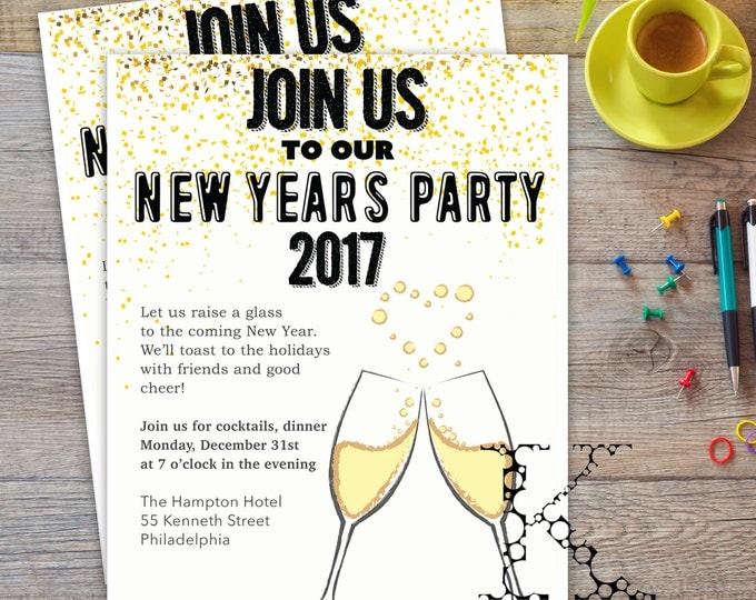 New Year party 2017 invitation flyer