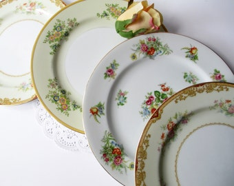 Vintage Mismatched Floral Dinner Plates Set of Four - Weddings Bridal