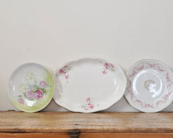 Vintage China Floral Plate Lot Home Decor Display 3 Piece Mismatched Set Shabby Chic