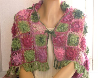 pink green flower shawl, lap blanket