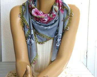 grey maroon turkish scarf with crochet flower trim