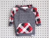 Baby Hoodie - Baby Sweatshirt - Baby Boy Clothes - Baby Shirt - Red White Black Plaid