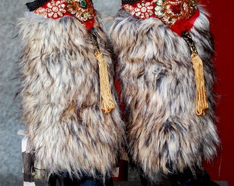 Spats,steampunk , gypsy, bohemian, boho, shoe accessoires, legwarmers,warrior woman, wild,cosplay,faux fur spats, tribal fusion, noire dance