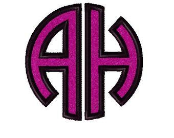 Circle 2 Letter Monogram Applique Digital Embroidery Machine Design 4 Sizes