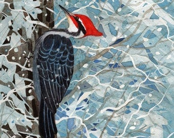 Pileated Woodpecker Bird Woodland Snow Winter Scene 8 x 10 small Archival Watercolor Print by artist Rainelle Meridith