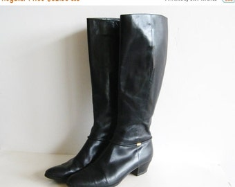 HOLIDAY SALE Vintage Salvatore Ferragamo Tall Black Leather Zip Up Boots Womens size 8 AAA