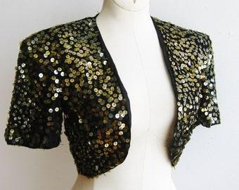Vintage 30s 40s Black Rayon Crepe Gelatin Sequin Bolero Jacket