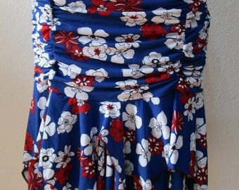 Mix Flower gahtered design  skirt  with 2 layers for your fashion out look (v183)