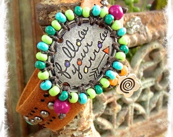 DESTINY Cuff brown leather BRACELET Tribal Arrow Message jewelry colorful beaded studded Bracelet Turquoise Cowgirl Spiritual jewelry GPyoga