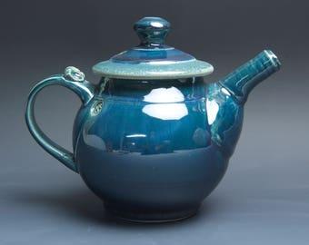 Handmade pottery teapot stoneware tea pot 32 ounce glossy blue 3928