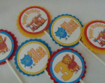 Daniel tiger birthday decorations, birthday cupcake toppers