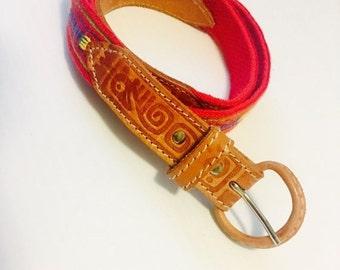 "ON SALE NOW Vintage Leather Belt / Pink Fabric Print Woman's Waist Belt 30-33"" inch Length"