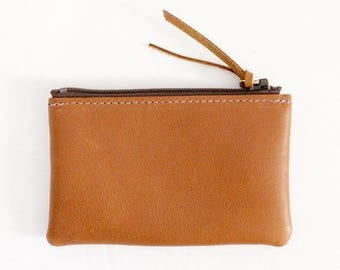 Leather Zipper Coin Case / Card Case / Wallet - Carmel