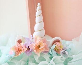 Ready to ship tieback unicorn horn pastel rainbow flower spring crown floral headband prop