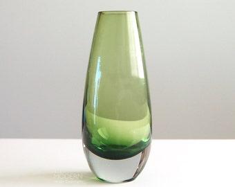 Vintage Scandinavian Style Green Cased Glass Bud Vase
