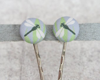 Dragon Fly Fabric Button Bobby Pin Pair