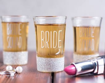 Bachelorette Party Shot Glasses - Bride Squad - Bridesmaid Gifts - Party Decor - Party Supplies -Party Favors - Bridal Party Gifts - Silver