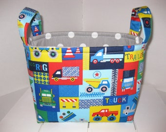 Ready to Ship!!! Red Blue Green Yellow Construction Trucks Polka Dots Organizer bin / Fabric Basket / Small Diaper Caddy