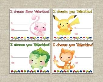 Classroom Valentines, boy or girl valentines set, pokemon