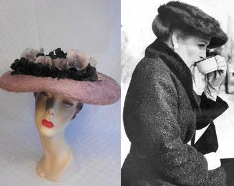 Paris Collections - Vintage 1950s Mauve Pink Fur Felt Platter Wide Brim Hat w/Lg Mauve Black Chiffon Florals