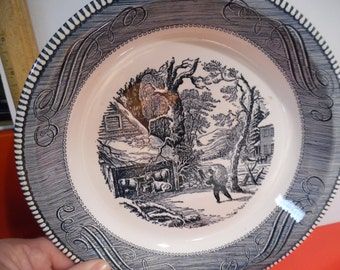 currier ives pie plate, vintage currier ives,
