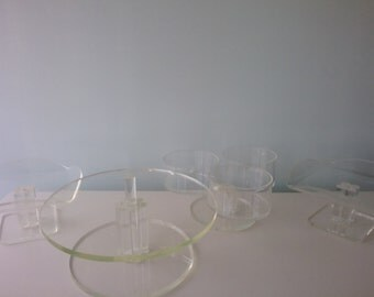 1970's clear acrylic lucite cake stand, treats, servers,