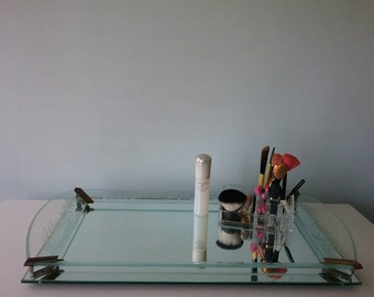 Art Deco Mirrored and Etched Glass Large Vanity Tray or Bar Tray, Etched Boudoir Tray, Hollywood Regency, Perfume Make Up , 1940s, Venetian