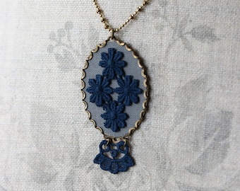 Art Nouveau Necklace, Navy Blue And Gray Large Oval Lace Pendant, Boho, Unique Jewelry For Women