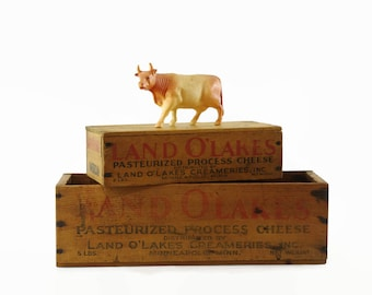 Small Wooden Boxes, Vintage Cheese Boxes, Rustic Farmhouse Decor, Land O Lakes Cheese