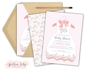 Baby Shower Invitation- DIY Printable  / New Baby / Girl / It's a Girl / Pretty Invitation / Baby Girl / Pale Pink / Flowers
