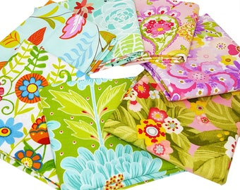 Bundle of 7 Assorted Floral Prints in Pinks, Greens and Aqua from Moda Designer Collections