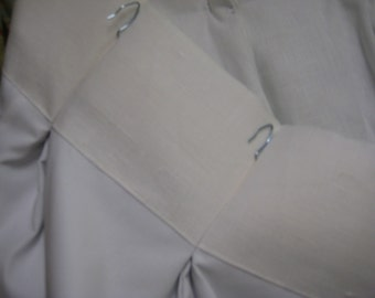 Pleated Linen Drapery-Drapery Panels-Standard Pinch Pleat or Euro Pleat Header Detail-Vintage White Linen