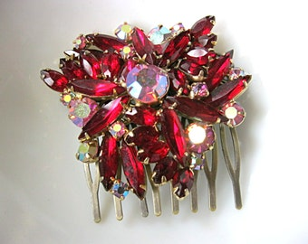 Vintage ruby red rhinestone brooch hair comb for bride, bridesmaid, mother of the bride, grooms mother, antique bronze comb